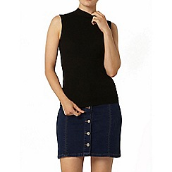 Dorothy Perkins - Black sleeveless high neck knitted top