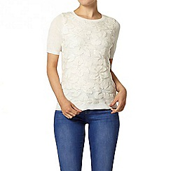 Dorothy Perkins - Ivory sequin lace knitted t-shirt