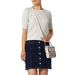 Dorothy Perkins - Blue applique floral knitted t-shirt