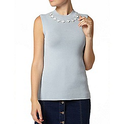 Dorothy Perkins - Blue embellished knitted shell top