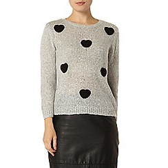 Dorothy Perkins - Grey heart embroidered jumper