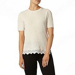 Dorothy Perkins - Ivory embellished lace hem knitted t-shirt