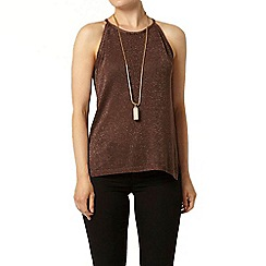 Dorothy Perkins - Chocolate sparkle shell knitted top
