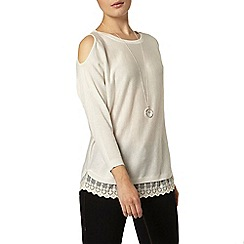 Dorothy Perkins - Oat lace hem knitted cold shoulder top