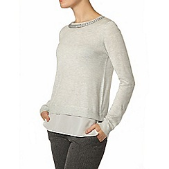 Dorothy Perkins - Grey chiffon hem plait jumper