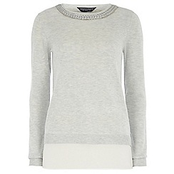 Dorothy Perkins - Tall grey chiffon hem plait jumper