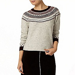 Dorothy Perkins - Grey and berry fairisle jumper