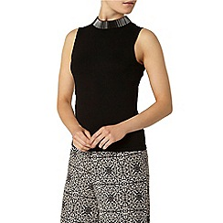 Dorothy Perkins - Black knitted embellished shell top