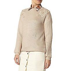 Dorothy Perkins - Camel embellished sparkle stitch jumper