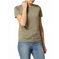 Dorothy Perkins - Khaki zip back knitted sparkle t-shirt