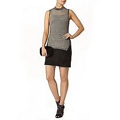 Dorothy Perkins - Silver foil shell top