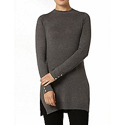 Dorothy Perkins - Charcoal button cuff longline jumper