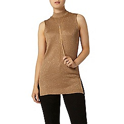 Dorothy Perkins - Camel longline sparkle shell knitted top
