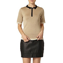 Dorothy Perkins - Gold sparkle knitted polo top
