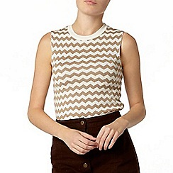 Dorothy Perkins - Camel chevron stripe knitted shell top