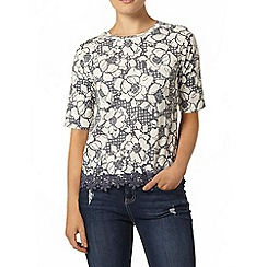 Dorothy Perkins - Navy knitted floral lace hem t-shirt