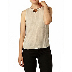Dorothy Perkins - Gold sparkle rib knitted vest top