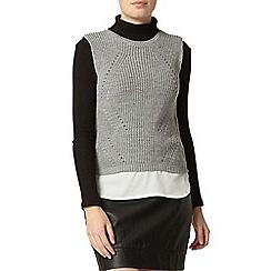 Dorothy Perkins - Grey chiffon hem knitted tabard