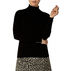 Dorothy Perkins - Black button cuff roll neck jumper