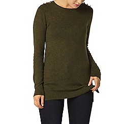 Dorothy Perkins - Olive button shoulder jumper