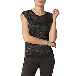 Dorothy Perkins - Charcoal sparkle pointelle knitted t-shirt