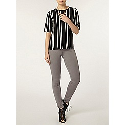 Dorothy Perkins - Black and white vertical stripe knitted t-shirt