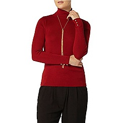 Dorothy Perkins - Red button cuff roll neck jumper