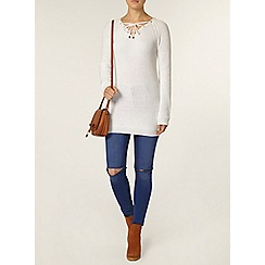 Dorothy Perkins - White tie front jumper