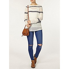 Dorothy Perkins - Ivory and blue stripe mesh jumper