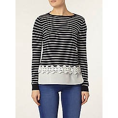 Dorothy Perkins - Navy and ivory lace stripe jumper