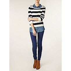 Dorothy Perkins - Tall knitted stripe and denim 2in1 shirt