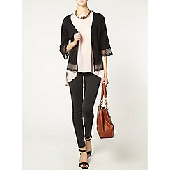 Dorothy Perkins - Tall black lace trim cardigan