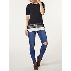 Dorothy Perkins - Navy lace and chiffon hem t-shirt