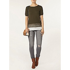 Dorothy Perkins - Khaki lace and chiffon hem t-shirt