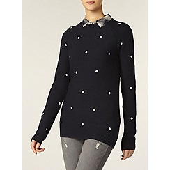 Dorothy Perkins - Tall navy embroidered spot jumper