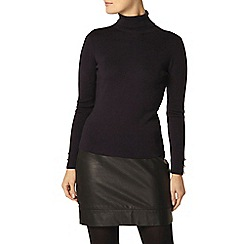 Dorothy Perkins - Navy button cuff roll neck jumper