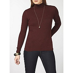 Dorothy Perkins - Berry rib roll neck top