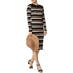 Dorothy Perkins - Camel/black/ivory stripe dress