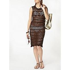 Dorothy Perkins - Chocolate crochet midi dress