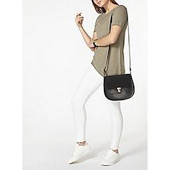 Dorothy Perkins - Khaki asymmetric pointelle t-shirt