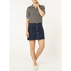 Dorothy Perkins - Grey zip front tipped polo