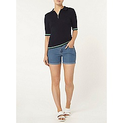 Dorothy Perkins - Navy zip front tipped polo