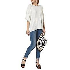 Dorothy Perkins - Ivory oversize pointelle t-shirt