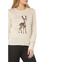 Dorothy Perkins - Oat sequin reindeer jumper