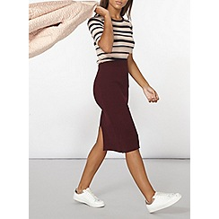 Dorothy Perkins - Berry rib knit midi skirt