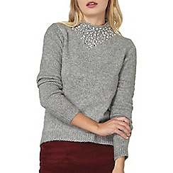 Dorothy Perkins - Grey embellished high neck jumper