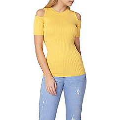 Dorothy Perkins - Yellow cold shoulder rib t-shirt