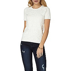 Dorothy Perkins - Ivory lace front t-shirt