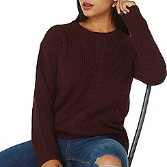Dorothy Perkins - Berry cable knit front jumper