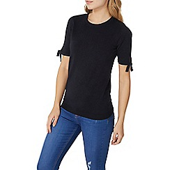 Dorothy Perkins - Navy tie sleeves knitted t-shirt